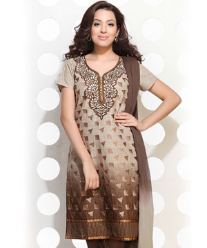 Dress Material-Boel And Beaver Brown Embroidered Suit