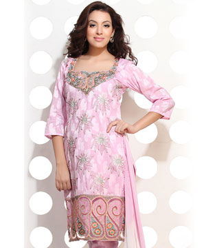 Carnation Pink Cotton Jacquard Embroidered Suit