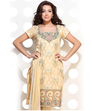 Lemon Yellow Cotton Jacquard Embroidered Suit