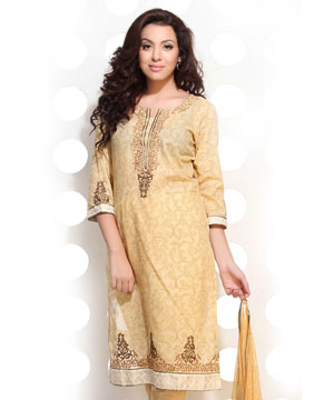 Mellow Yellow Block Print Embroidered Suit