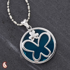 Blue Agate Silver Butterfly Pendant