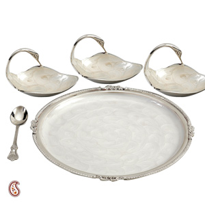 Swan Bowls and Tray Set in Enamel Polished Silver Plating