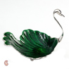 Silver Plated Brass and Food Safe Green Enamel Swan Tray