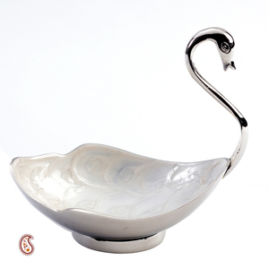 Ivory Enamel Inlayed Swan in Silver Plated Brass