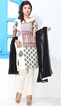 Dress Material-Black and White Block Print Boat Neck Cotton Suit