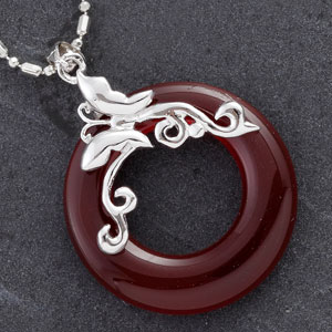 Red Agate Ring Silver Pendant