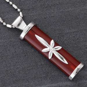 Cylindrical Red Agate Silver Pendant