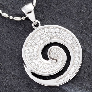 Round Silver Pendant with CZ