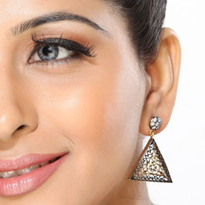Intricate CZ and Alloy Metal cutwork Earrings