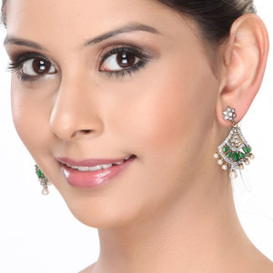 CZ, Pearl and Oval Emerald Hanging Earrings
