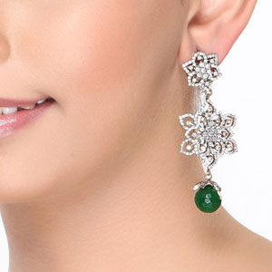 Floral Chandelier Earrings with CZ and Emeralds