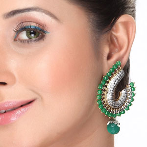 Emerald beads and CZ hanging Earrings