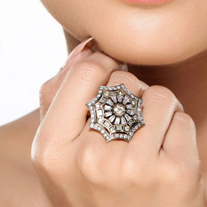 Octagon CZ Cocktail Fashion Ring