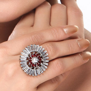 CZ and Red Onyx Circular Ring