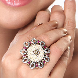 Pearl, CZ and Ruby Floral Ring