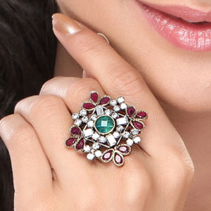 Emerald, Ruby and CZ Diamond Design Ring