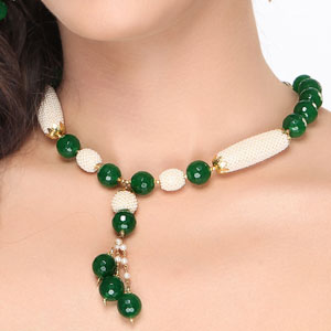 Green Onyx Beads and Pearl Necklace Set