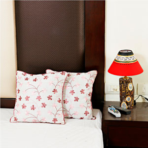 Coral Pink Tissue Silk Cushion Cover Set