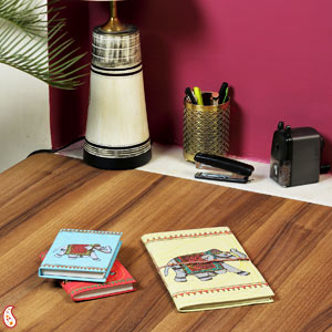 Regal Royal Elephant Printed Hand Made Paper Diary Set