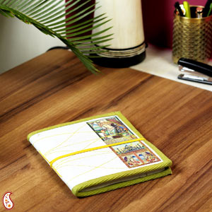 Eco-Friendly Gifts-Miniature Diary with Traditional Art Print on Hand Made Paper