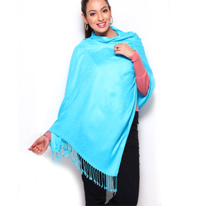 Electric Blue Satin Finish Jacquard Stole