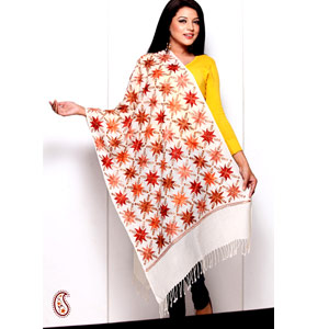 Stoles-Silk Thread Embroidery Pashmina Stole