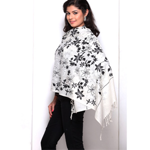 Black & White Floral Embroidery Pashmina Stole