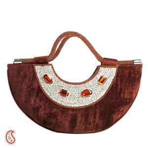 Bole Brown Velvet & Stone Crescent Moon Bag