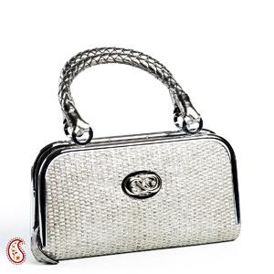 Mini Metal Frame & Basket weave Bag