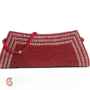 Scarlett Red Beads & Stone Lace Boat Clutch