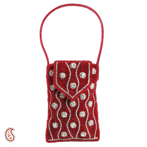 Red Velvet & White Stones Cell Phone Pouch