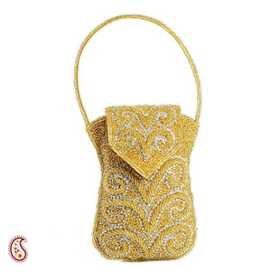 Silver & Gold Beads work Cell Phone Pouch
