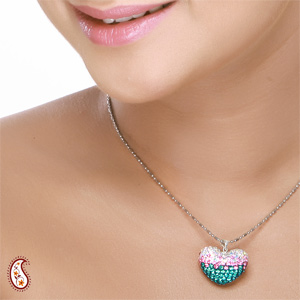 Tricolor Crystal Heart Pendant