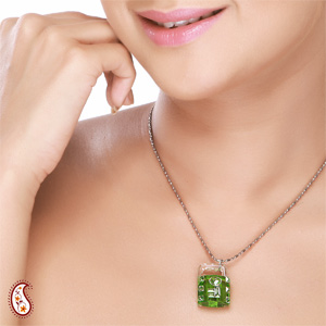 Lock and Key Crystal Pendant