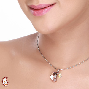 Heart and Butterfly Crystal Pendant