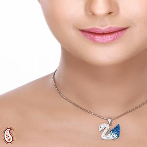 Swarovski Crystal Studded Swan Pendant