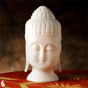 Buddha Head Made in Pure White Rajasthani Marble