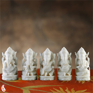 Five Musical Ganesha Statue Made in White Marble
