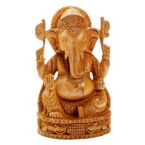Wooden Idols-Pure White Wood Hand Carved Ganesha Murti