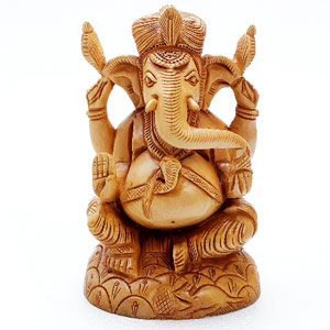 Pure White Wood Ekakshara Ganapati Statue