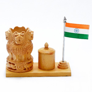 National Emblem Office Table Stand in White Wood