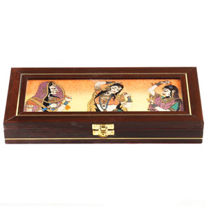 Gemstone Inlay Work Rectangle Jewellery Box