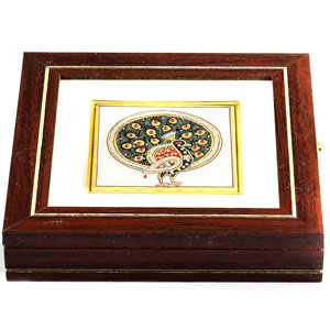 Gemstone Peacock Design Square Jewellery Box