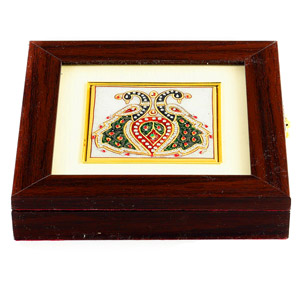 Twin Peacock Design Gemstone Square Box
