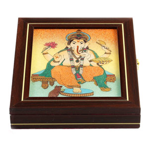 Lord Ganesh Gemstone Wooden Jewellery Box