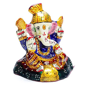 Hand Painted Enamelled Metal Turban Lord Ganesha Figurine