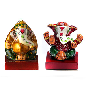 Metal Idols-Hand Painted Enamelled Metal Ganeshaji Set