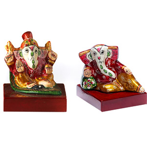 Miniature Enamelled Metal Hand Painted Ganesha Murti Set