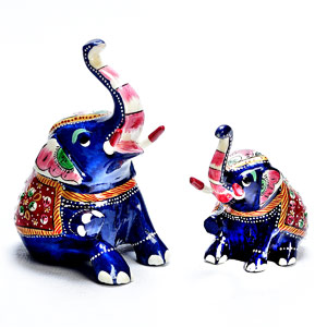 Seated Royal Elephant Set in Enamelled Metal