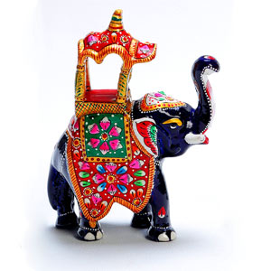Enamelled Metal Royal Elephant with Hand Painted Howdah